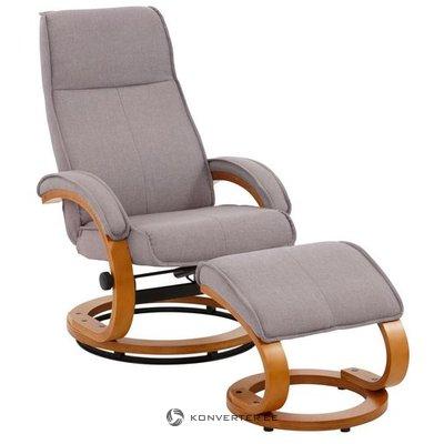 Armchair with light gray textile stool (beauty flaws, hall sample)