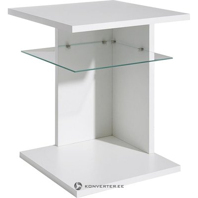 Small coffee table with glass shelves (with beauty defects, white, in a box)