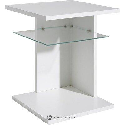 Небольшой журнальный столик со стеклянной полкой (белый, целый, холл образца)