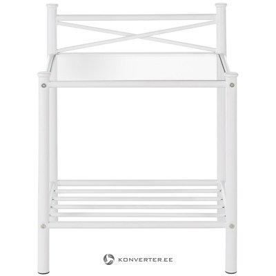 Neliels balts metāla stends ar stiklu