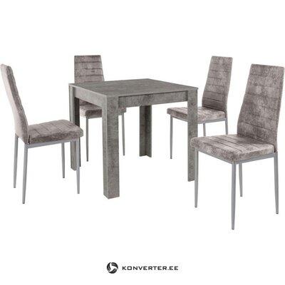 Neliels gaiši pelēks pusdienu galds (80x80) (lynn)