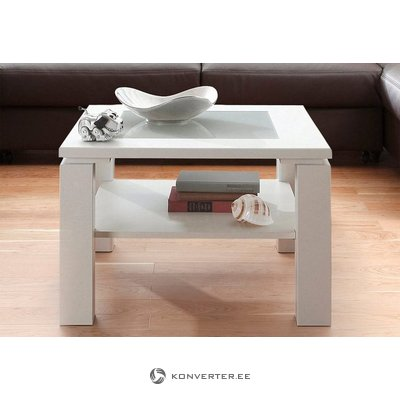 White small coffee table (inosign) with glass (in box, with beauty defect,)