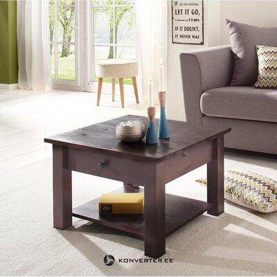 Melna masīvkoka dīvāna galds ar atvilktni