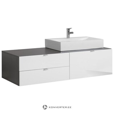 Gray-white high gloss sink cabinet with drawers (with sink) (beach) (hall sample, with beauty bug)