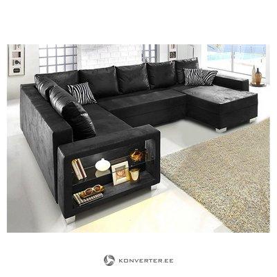 Melns stūra dīvāns (vesels, kastē)