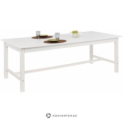 White solid wood expanding dining table