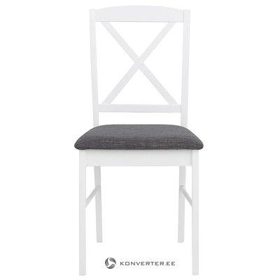 Balta pilka medžio masyvo kėdė (su grožio trūkumais)