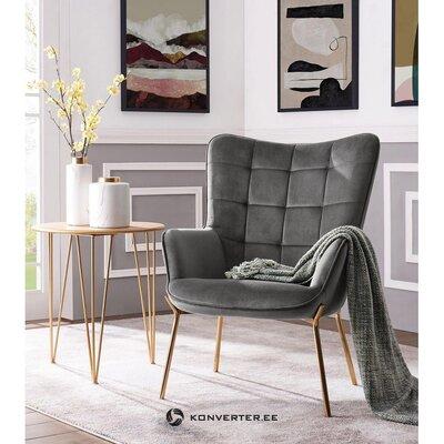 Pilko aksomo fotelis (loue) (defektas, salės pavyzdys)
