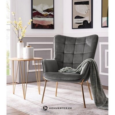 Gray velvet armchair (loue) (whole ,)