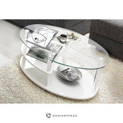 Balta stikla dīvāna galds (zāles paraugs, vesels)