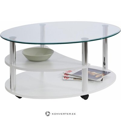 Glass Wheeled Coffee Table (White, Whole, Box)