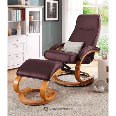 Punertavanruskea nahkaverhoiltu nojatuoli