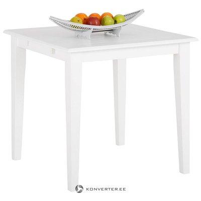 Valkoinen massiivipuuta ruokapöytä