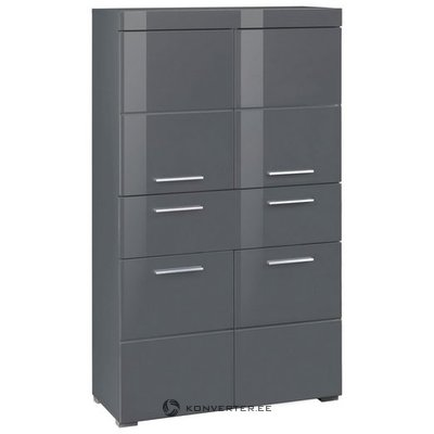 Gray high gloss cabinet with 1 drawer and 4 doors (amanda)
