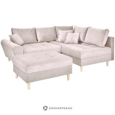Beige kampinė sofa-lova (ryžių klaidos) (ryžiai) (ryžiai)
