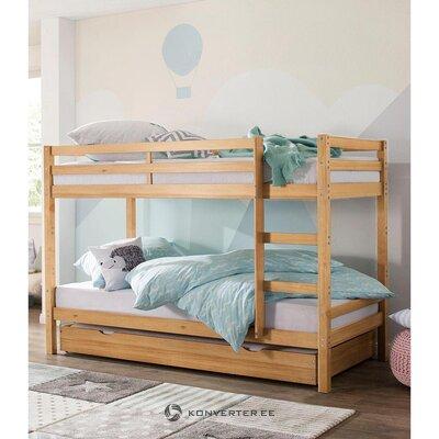 Medžio masyvo šviesiai ruda dviaukštė lova (alpinė) (dėžutė, visa)