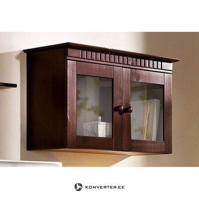 Tamsiai ruda medžio masyvo sieninė spintelė su stiklinėmis durimis (kubrika) (visa ,, dėžutėje)