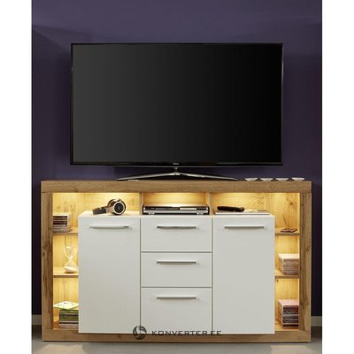 Brown and white TV cabinet with 2 doors (rock) (whole, sample hall)