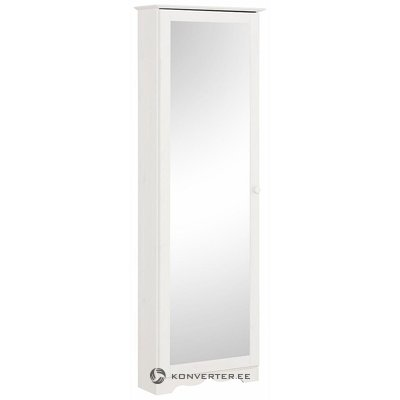Baltas medžio masyvo batas su veidrodžiu