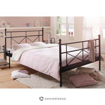 Wide black bed with metal 180x200
