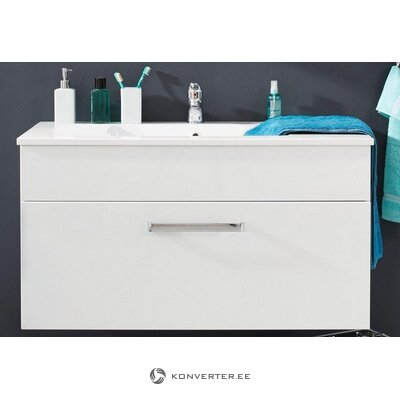 White high gloss sink cabinet (without sink) (with beauty defect, hall sample) (adamo)