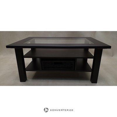 Dark brown coffee table with basket (beauty defects, in box)