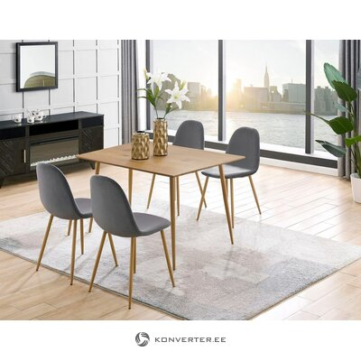Light brown dining table + 4 gray chairs (eadwine) (set 5 pcs)