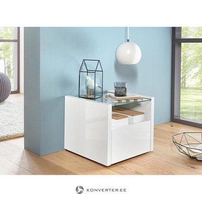 Balts, spīdīgs naktsgaldiņš (ar skaistuma defektiem, kastē)