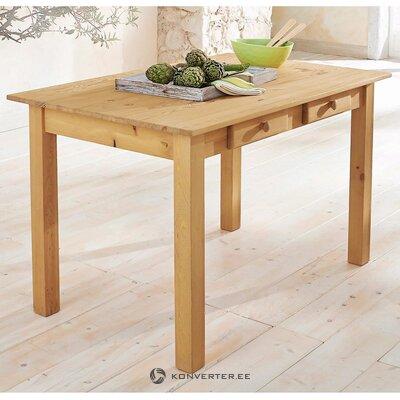 Ruskea massiivipuinen ruokapöytä 2 laatikkoa (Johan)