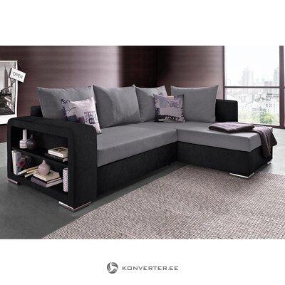 Juodai pilka kampinė sofa-lova (john) (visa, dėžutėje)