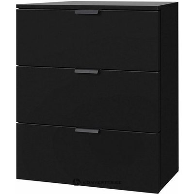 Black bedside table with 3 drawers (full, box)