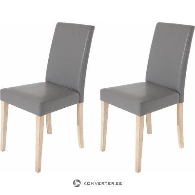 Blake PU chairs Grey -Oak Light
