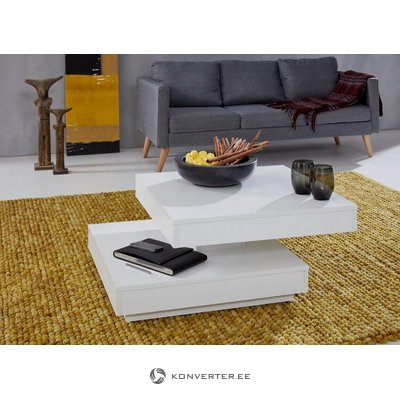 White rotating coffee table (with beauty defects)