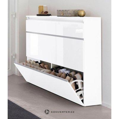 Белый глянцевый шкаф для обуви (коробка, целый)