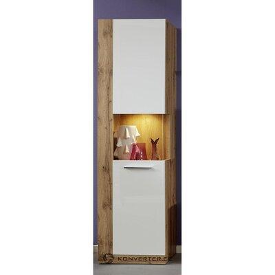 Ruskea-valkoinen korkea kaappi (rock) (laatikko, kokonainen)