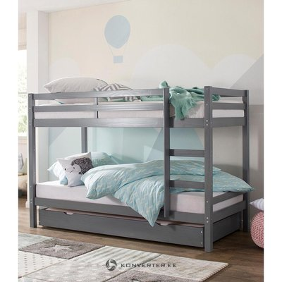 Pilka medienos dviaukštė lova (alpinė)