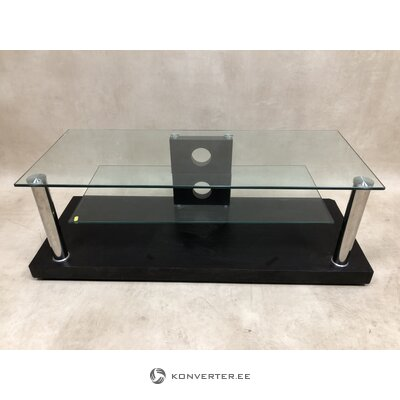 Tumši brūns televizora statīvs ar stikla plauktiem