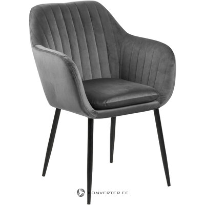 Gray-black velvet chair emilia (actona) (with imperfections, hall sample)