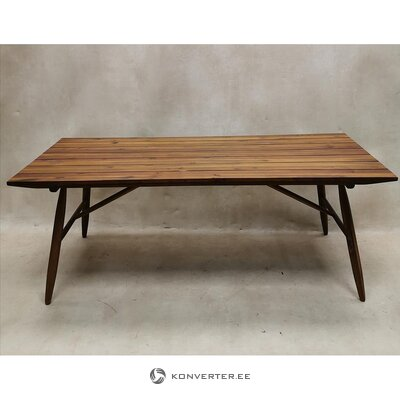 Brown solid wood garden table (hall sample, with defect)