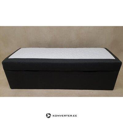Must-Valge Nahkkattega Voodi (90x200)