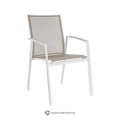 Beige-valkoinen puutarhatuoli (bizzotto) (koko, laatikossa)