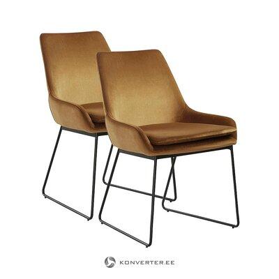 Ruskea samettinen nojatuoli (jotex)