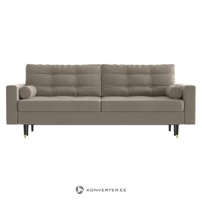 Beige-gray velvet sofa bed (daniel hechter home) (with beauty defects., Hall sample)