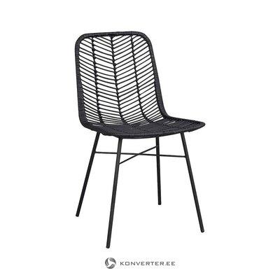 Rattan pīts melns krēsls