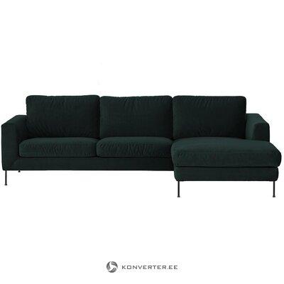Tamsiai žalia aksominė kampinė sofa (cucita)