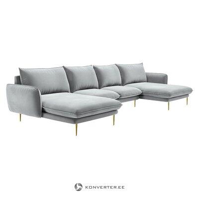 Pilka aksominė didelė kampinė sofa (besolux) (dėžutė, visa)