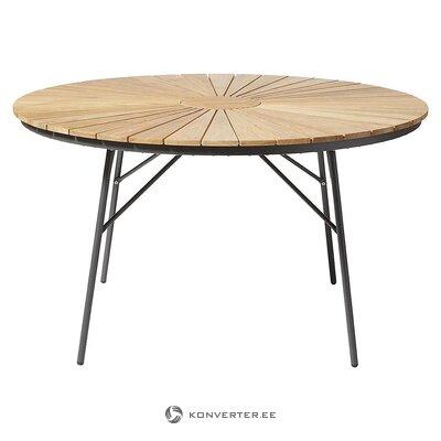 Коричнево-черный садовый стол (кинас) (мелкие жучки, образец зала)
