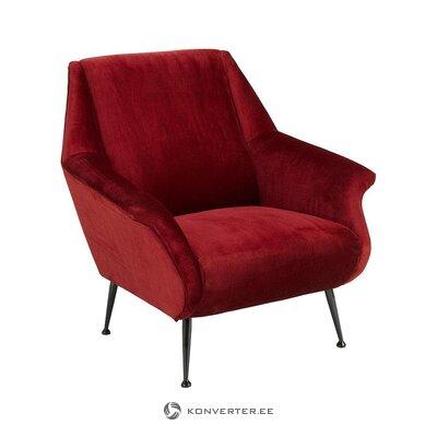 Raudono aksomo fotelis (eichholcas) (sveikas, dėžutėje)