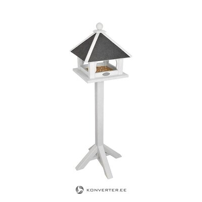White-gray solid wood bird house