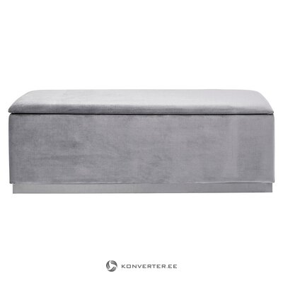 Gray velvet bench with storage box (rough design) (with flaws, hall sample)